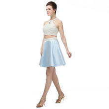 2 Piece Sexy Prom Dresses Short Ligth Blue And White Pearl Homecoming Two Piece Evening Party Dress 2019 Dresses Prom Gown Gala