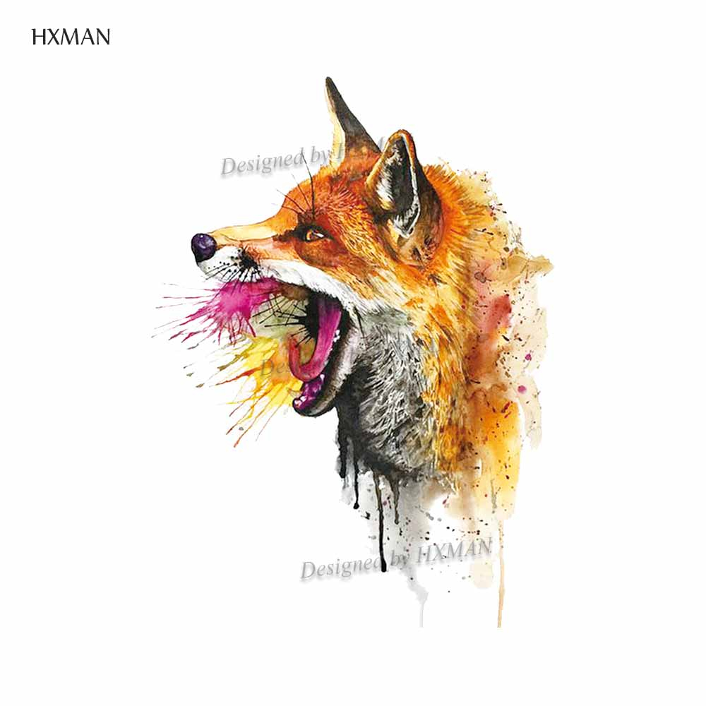 HXMAN Fox Temporary Fake Tattoo Body Art Sticker Waterproof Women Hand Tattoo Sticker For Adults Children 9.8X6cm A-014