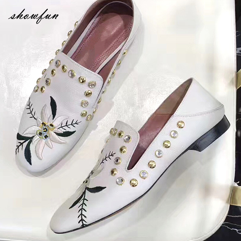 Women's Genuine Leather Embroidered Flowers Rhinestones Slip-on Loafers Brand Designer Square Toe Ballet Flats Slides Shoes Sale brilliant genuine sheepskin leather flat heel single shoes 2016 spring summer square toe rhinestones black rose red ballet flats