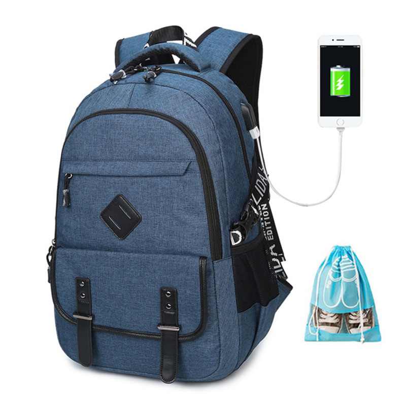 2018 Laptop Backpack Men Oxford Fabric Water Resistant Travel Backpack With USB Charging Port School Backpack For College Bag creeper water resistant travel oxford fabric wash bag light purple