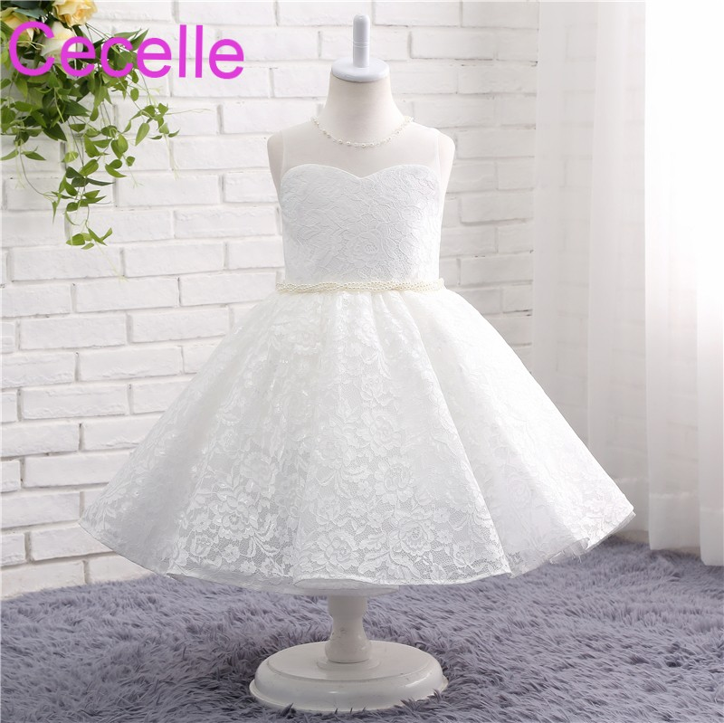 Ivory White Ball Gowns Lace Flower Girls Dress For Wedding ...