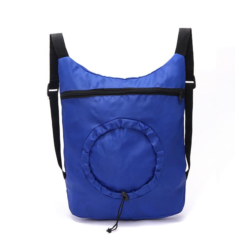 New Design Custom Promotional Blue Drawstring Polyester Travel Tote Bag