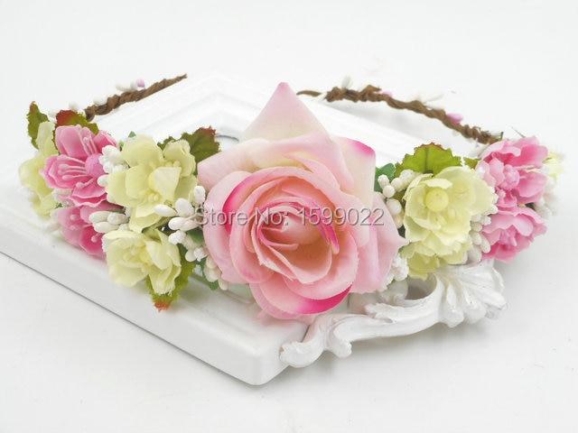 0aaa09f8712 Spring Wedding Rose Flower Halo Headband Diy French Hair Accessories Retro Crown  Headdress Pink Ivory Rustic Floral Head Garland