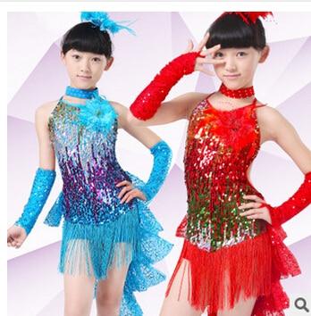 Free Shipping 100-160cm Rumba Latin Dance Dress Tango Samba  Blue Yellow  Red Competition  Professional Girl Child Dress Costume