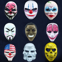 Free Shipping Resin Payday 2 Mask Prop Replica Dallas Hoxton Chains Wolf Clown Robber Vespula V for Vendetta Cosplay Costumes