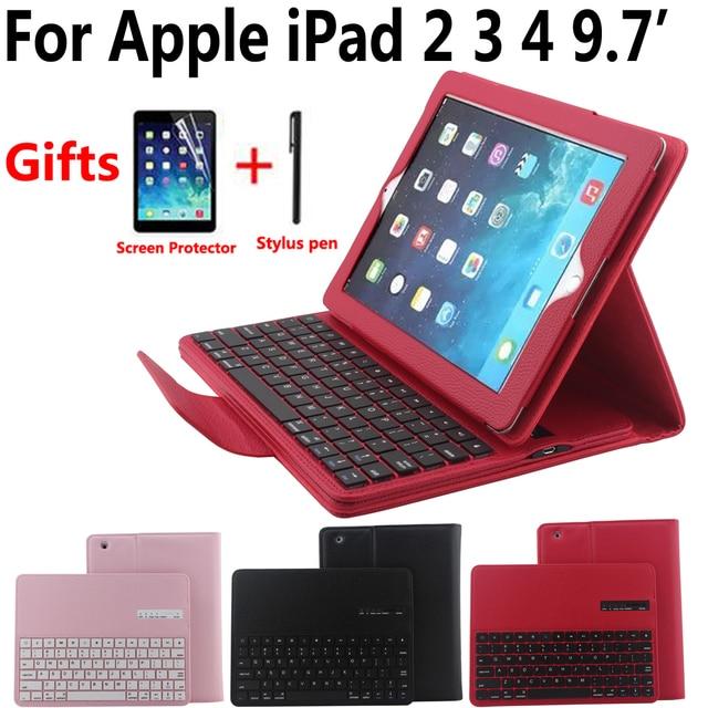 Detach Wireless Bluetooth Keyboard Case for Apple iPad 2 3 4 iPad2 iPad3 iPad4 9.7 Cover with Screen Protector Film Stylus Pen