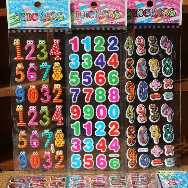 3pcs Cute Kawaii Numbers Letter Symbol Scrapbooking Bubble Puffy