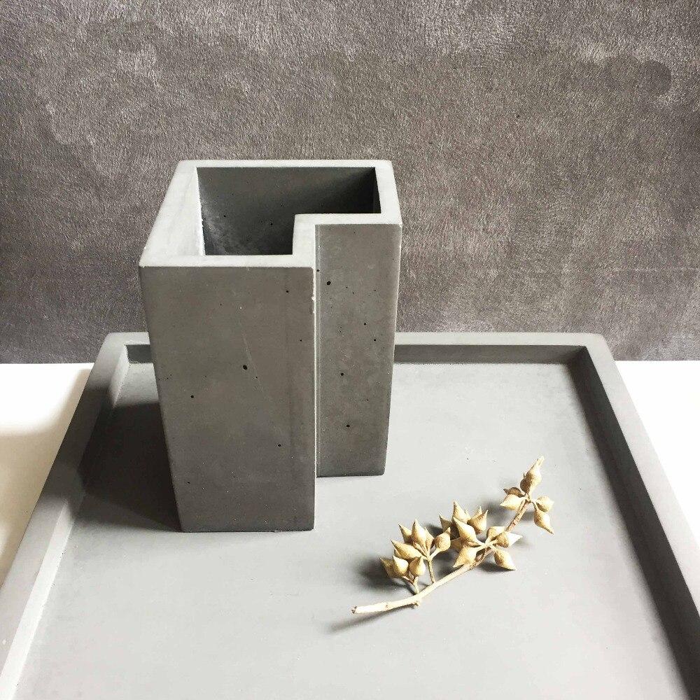 Gel de silice silicone moule vent nordique géométrique irrégulière ciment porte-stylo pots de ciment moules