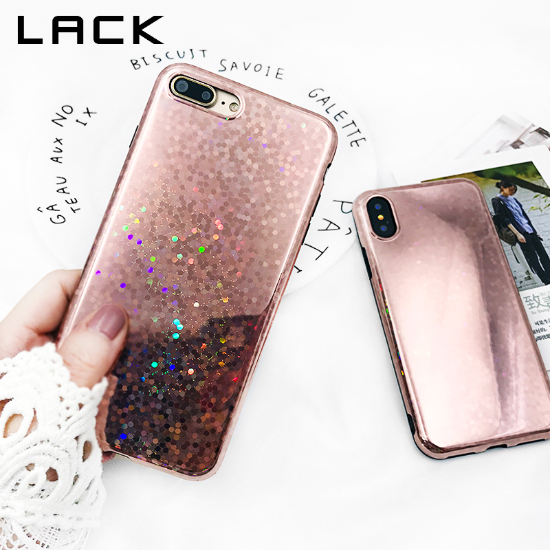 LACK Rose gold Laser Sequins Phone Case For iphone X Case For iphone 6 6S 7 8 Plus Cases Glitter Bling Glossy Soft TPU Cover