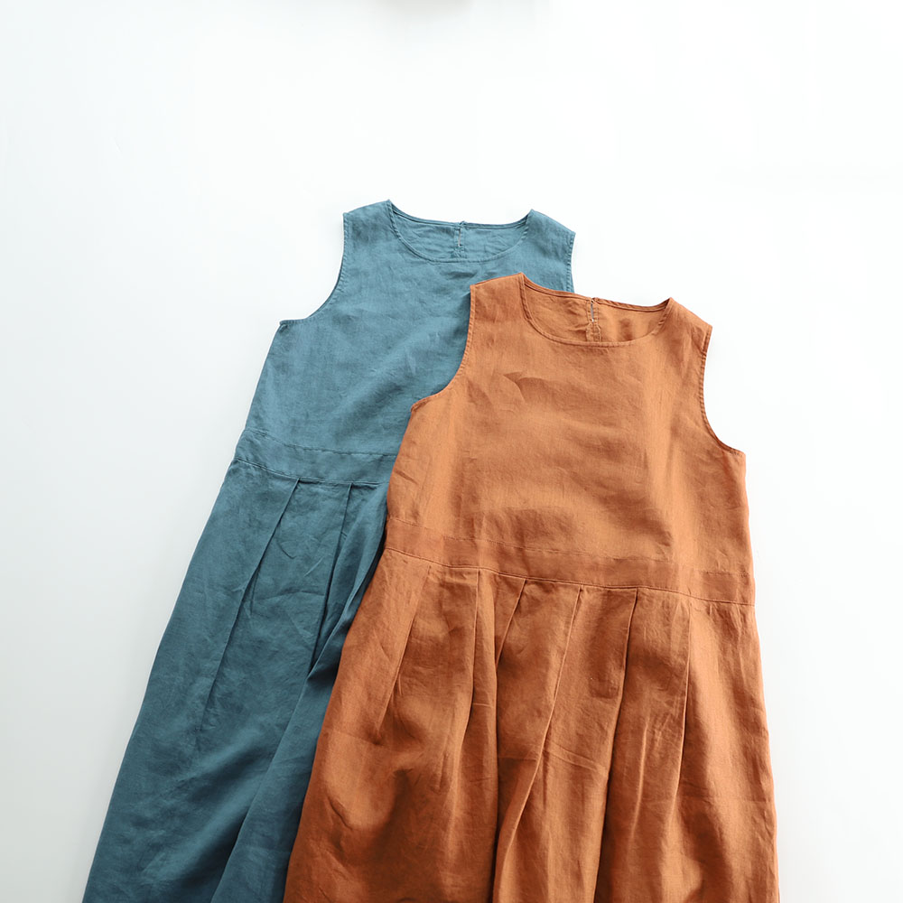Spring Summer Women Loose Brief Japanese Style Comfortable Water Washed Linen O neck Sleeveless Tank Linen
