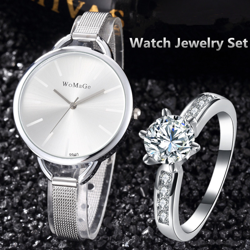 Watches Women Luxury Silver Wrist Watch with Ring Ladies Quartz Steel Clock saat montre femme reloj mujer hodinky orologio uomo newly design dress ladies watches women leather analog clock women hour quartz wrist watch montre femme saat erkekler hot sale