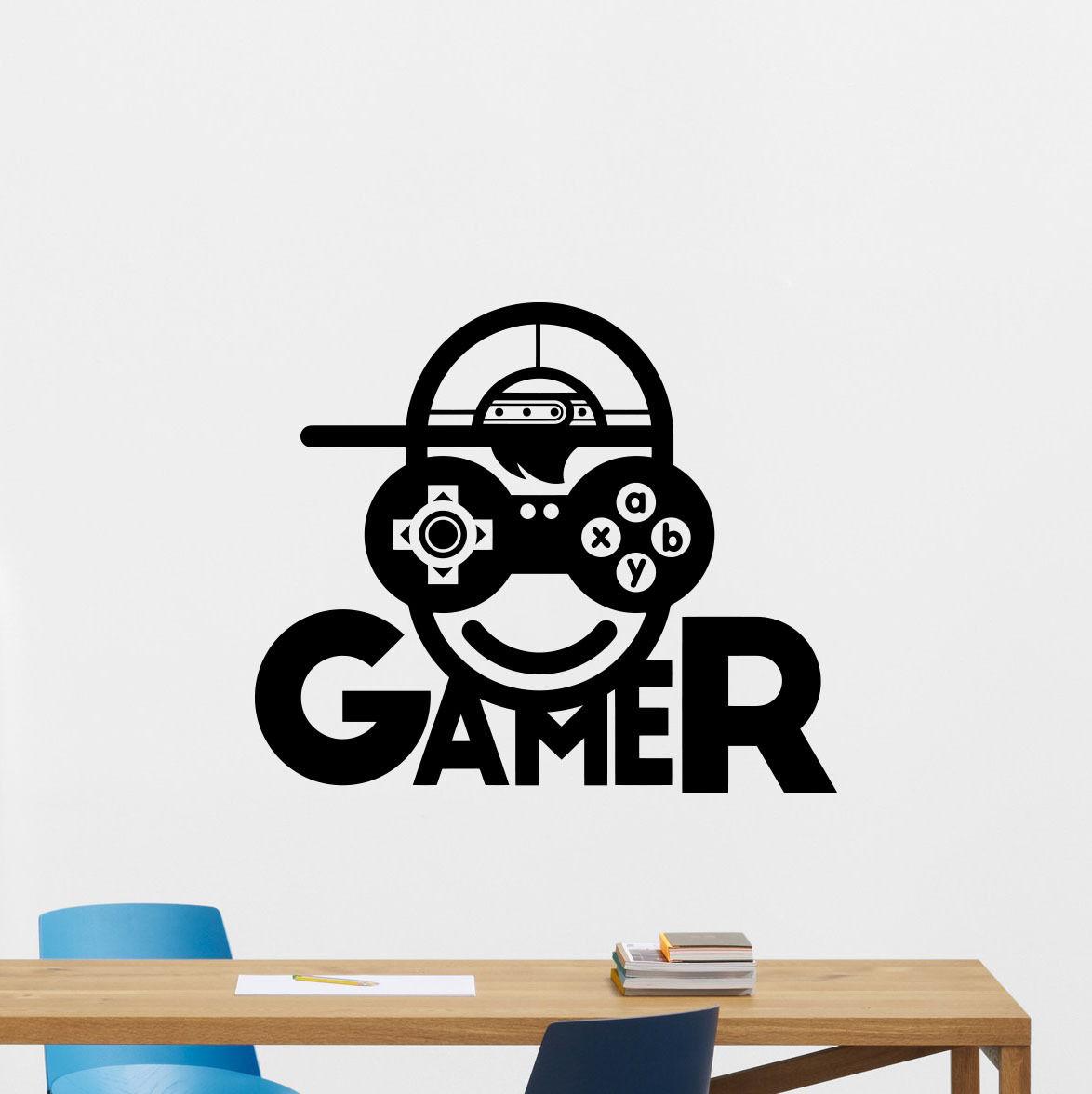 Video game sticker play decal gaming posters gamer vinyl for Custom vinyl mural prints
