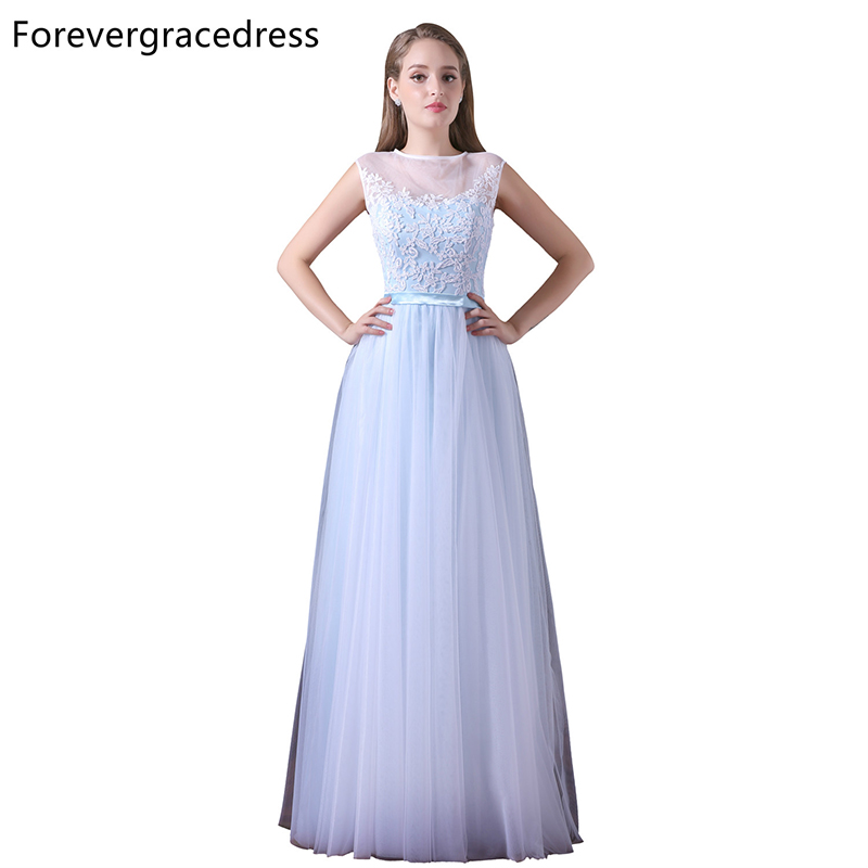 Forevergracedress Cheap Illusion Neck Bridesmaid Dress New Arrival Lace  Tulle Long Wedding Party Gown Plus Size 10aad90e3c46