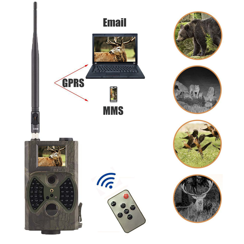 Hunting Trail Camera MMS GPRS Email Infrared wild camera GSM HC350M GPRS 16MP 1080P HC300M Night vision for animal photo traps arduino atmega328p gboard 800 direct factory gsm gprs sim800 quad band development board 7v 23v with gsm gprs bt module