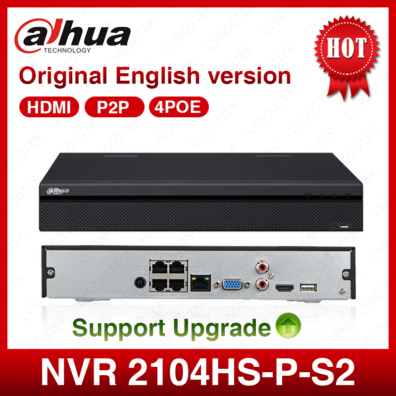 Dahua POE NVR NVR2104HS P S2 4CH Network Video Recorder Full HD 1080P Recorder With 1SATA