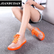 JIANBUDAN Rain boots, women with short boots, the new 2016 transparent waterproof boots, ms antiskid rubber boots