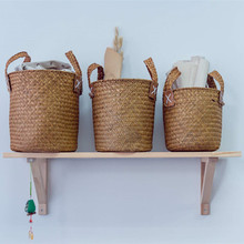 Round non-rattan Basket With Handle Seaweed Knitting Process Natural Environmental Protection Dirty Bucket Laundry