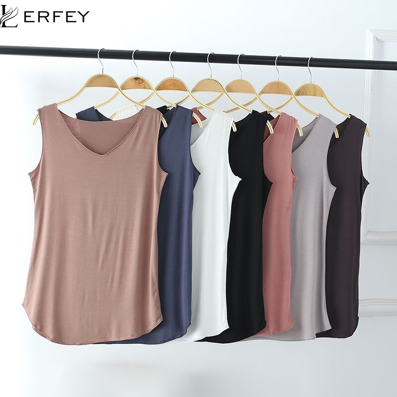 LERFEY Women Summer   Tank   Sleeveless V Neck   Tops   Loose Singlets Vest Slim T Shirts Soild Color Girls Tees Camisetas Plus Size