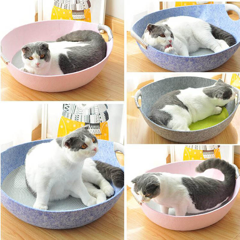 Warm Felt Indoor Cat House Kennel Lounger Dog Bed for