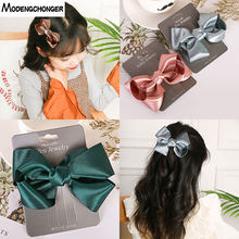 Big Butterfly Hairgrips Grosgrain Ribbon Solid Hair Bow Clips  Barrette Boutique Cloth Girls Kids Hairpins Accessories