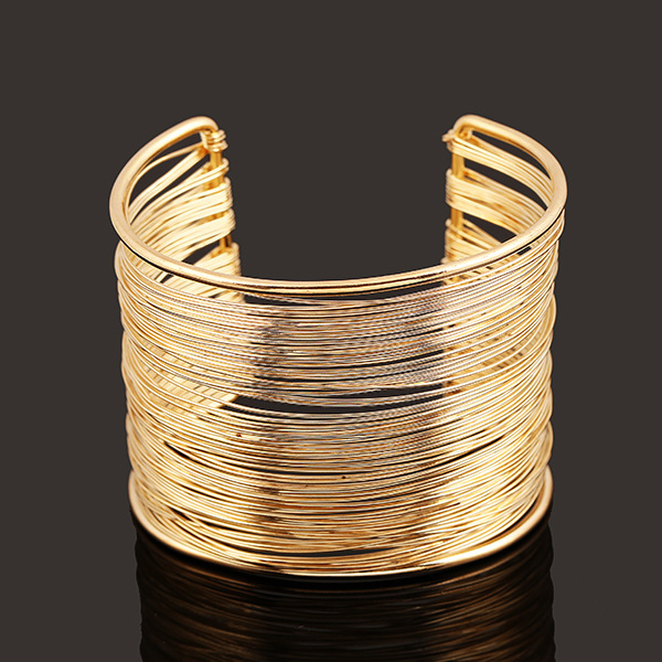Star Jewelry 2017 Fashion Punky Style Hollow Cuff Retro Braid Big Gold  Bangles For Women Charm 33e80fb1b046