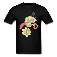 Changing Colors Men Tshirt Brand New Tees Chameleon Spring Print Casual T-Shirt Cotton Fabric O-Neck Mans Tops T Shirts Black