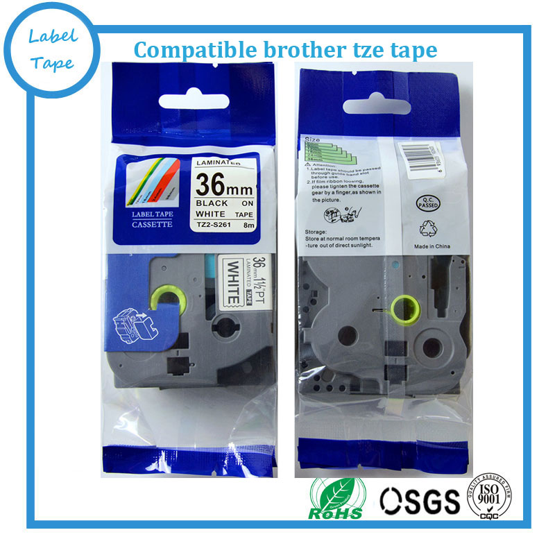4pk / lot 36mm TZe gelamineerde label tape Zwart op Wit voor Brother - Office-elektronica