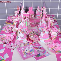 OUSSIRRO Pink Unicorn Theme Party Sets Kids Birthday Party Supplies Unicorn Tableware Banner Baby Shower Wedding Decorations