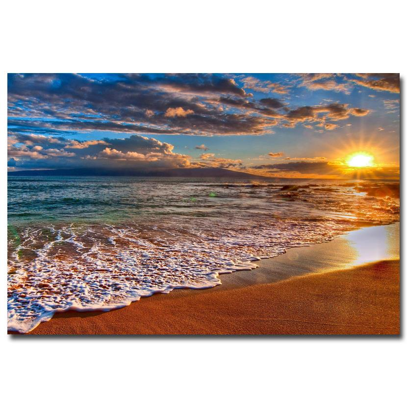Tropical Beach And Peaceful Ocean: Tropical Beach Ocean Sea Waves Art Silk Poster