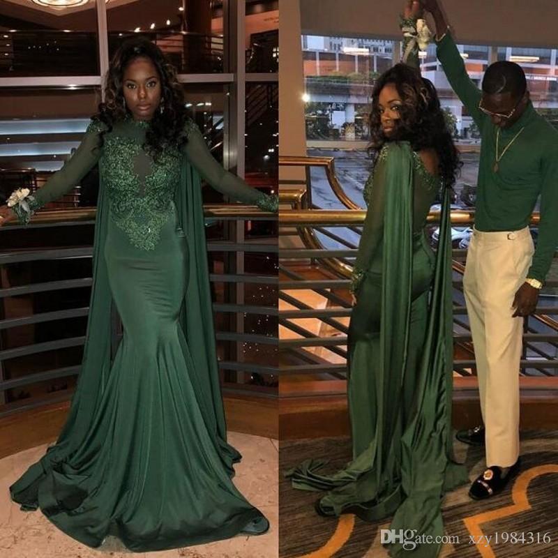 Robes de bal pour filles noires avec Appliques de dentelle robe de soirée 2019 abiye robe de soirée pour femmes