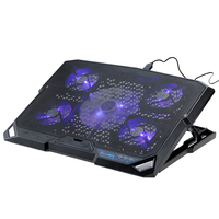 Professional 5 Fan 2 USB Laptop Cooler Cooling Pad Base LED Notebook Cooler Computer USB Fan