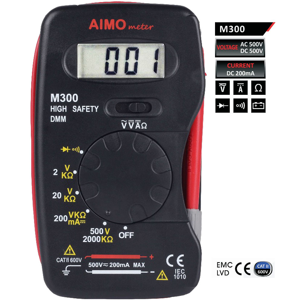 AIMO M300 Mini portátil LCD multímetro Digital de alta seguridad multímetro Digital medidor voltímetro amperímetro ohmímetro