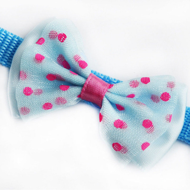 Fashion Cute Kitten 1pc New Adjustable Bowknot Nylon Dog Cat Pet Collar Bow Tie Bell Puppy Candy Color Necktie 3