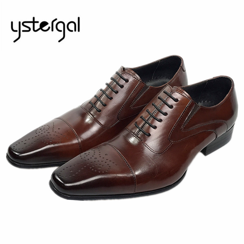 YSTERGAL Square Toe Men Dress Shoes Genuine Leather Business Formal Oxford Shoes Lace Up Zapatos Hombre Wedding Shoes Mens Flats