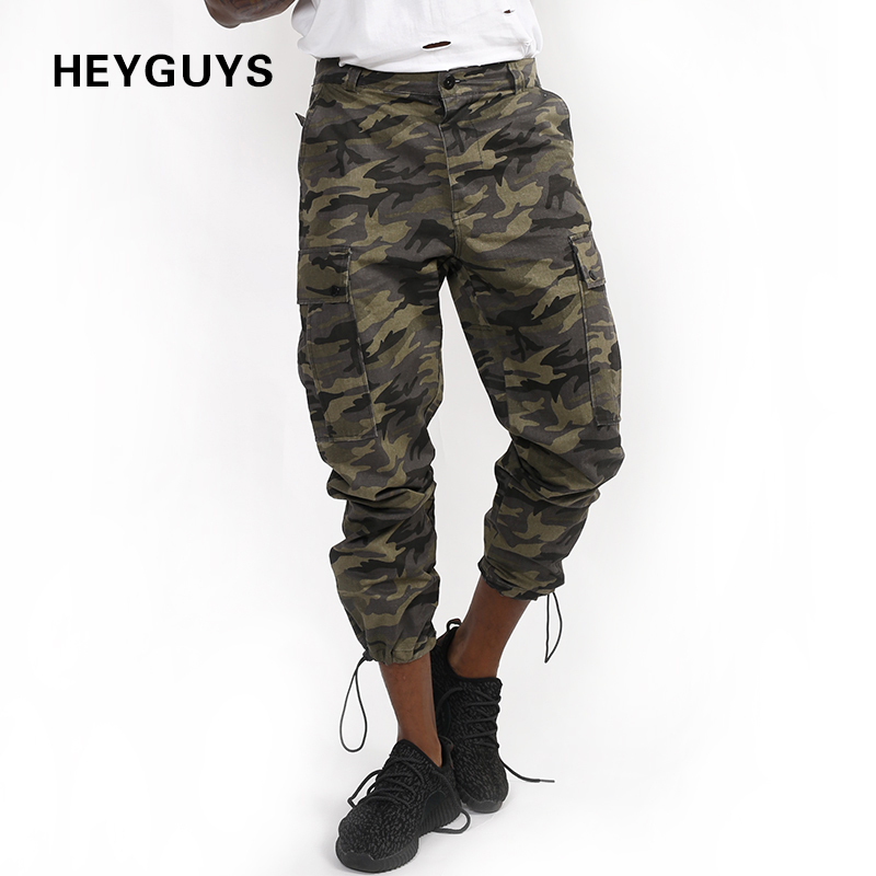 HEYGUYS 2018 High street camouflage 9 ankle banded pants tide brand overalls drawstring pants Jogger Pants pocket trousers
