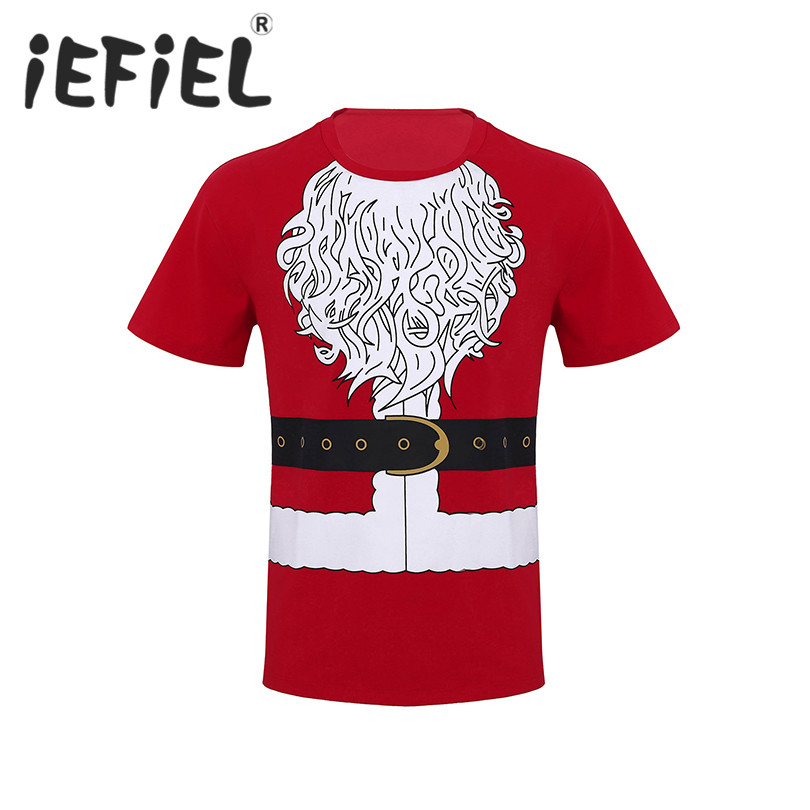 New Arrival Mens Fashion Christmas Santa Claus Novelty Costume Funny Short Sleeve Screw Neck Soft Cotton Loose T-shirt Tops