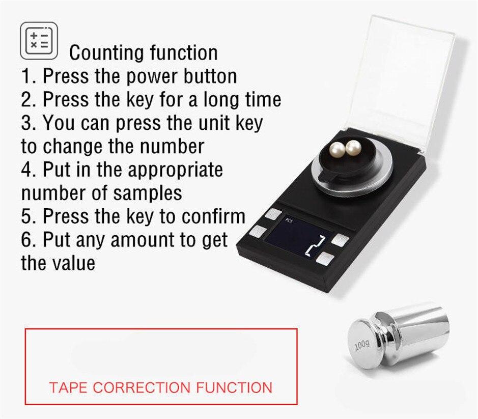 50g/0.001g LCD numérique bijoux balances poids de laboratoire haute précision échelle usage médical Portable Mini Balance électronique - 5