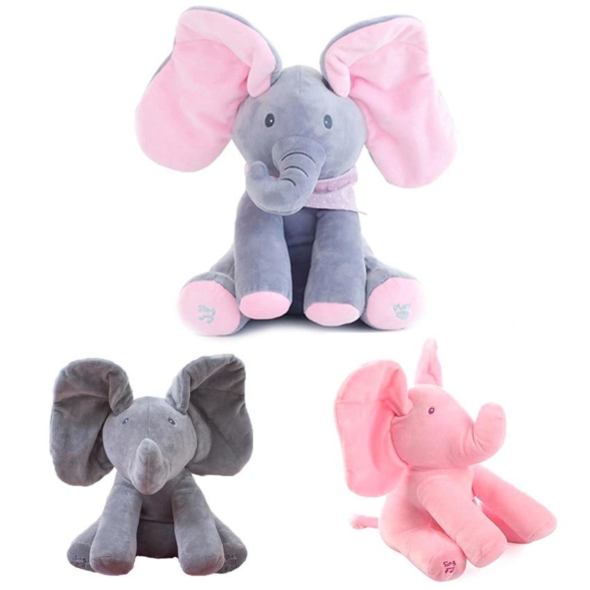 1 pz 30 cm Peek a Boo Elefante Farcito Animali di Peluche e Peluche Bambola di Musica del Gioco Elefante Educativi Anti-stress regalo del giocattolo Per I Bambini