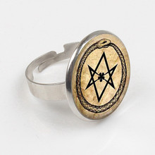Art Glass Ring ouroboros hexagram snake Ring occult magic eternity alchemical crowley parchment fashion Ring jewelry alchemical psychology