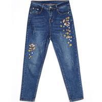 new harem pants High Waist Plus Size Embroidery Jeans 7Xl Large Size Loose Denim Capris