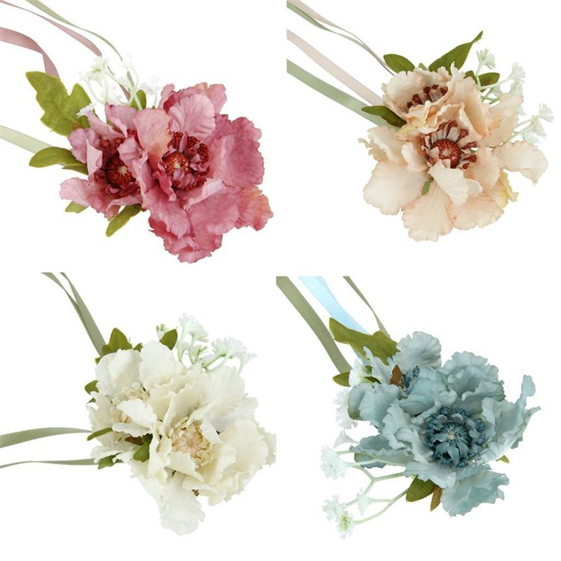 Wedding brides bridesmaids stretch hand flower rose wrist corsage wedding brides bridesmaids stretch hand flower rose wrist corsage silk flower bridal prom wedding party event supplies in artificial dried flowers from mightylinksfo