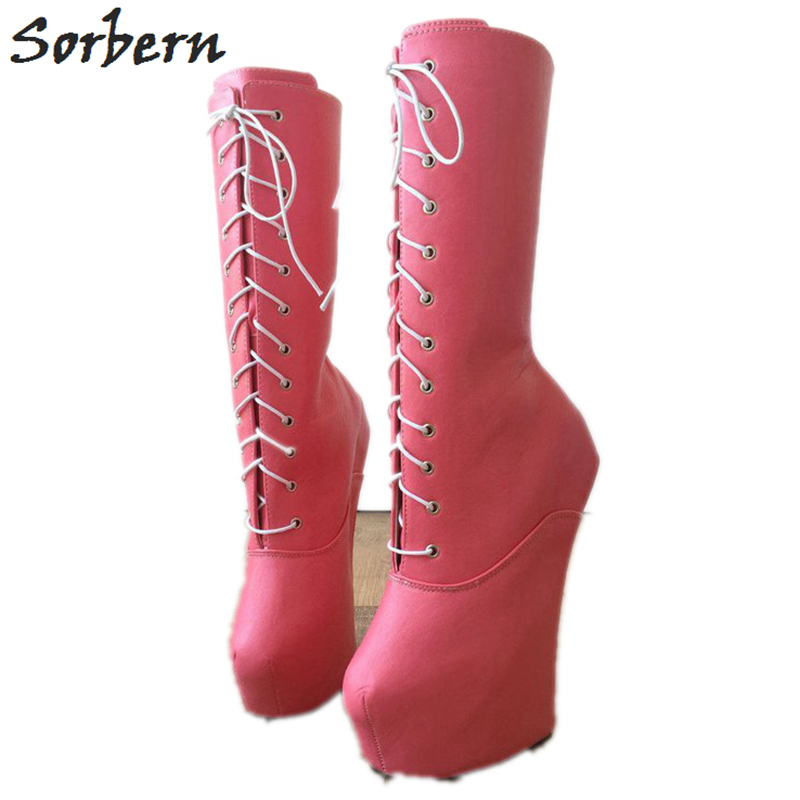 Sorbern Heavy Hoof Sole Heelless Boots Women Custom Wide Mid-Calf Boots Made to Order Matt Pink Fetish Heelless Hoof Boots