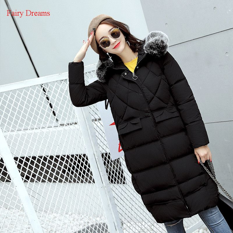 Fairy Dreams Womens Long Jacket Made Of Goose Feather Plus Size Loose Winter Coat Cotton Down Parka Abrigos Mujer Invierno 2017