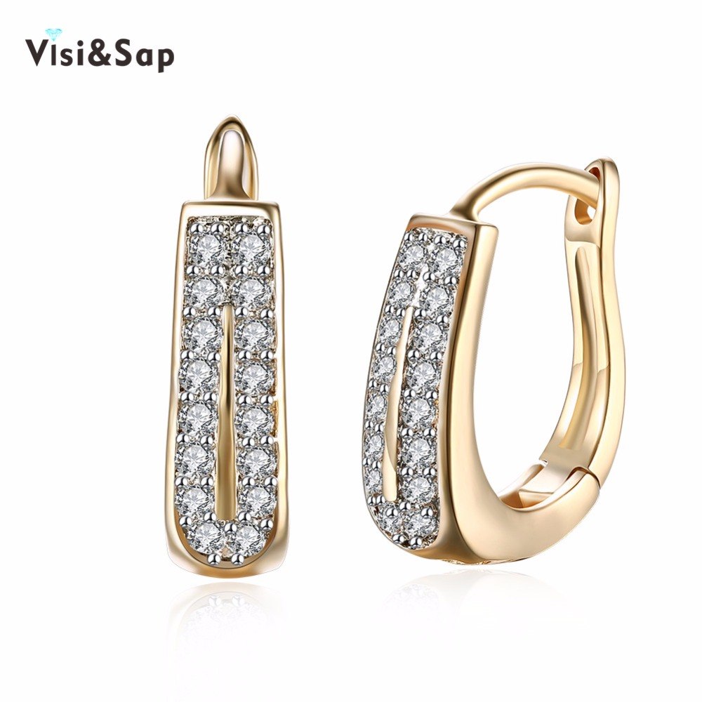Visisap Double Row Cubic Zirconia Hoop Earrings For Women Girls Gifts  Earring Jewelry Champagne Gold Color