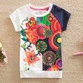 Флаг 2015 летние цветы детские & дети хлопок печатных моды новые девушки круглый воротник девушка футболки с коротким рукавом рубашки G6118