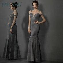 Silver Gray Shinny Evening Dresses Long Off Shoulder Mermaid Prom Dress 2019 Vestido de Fiesta Longo abiye gece elbisesi