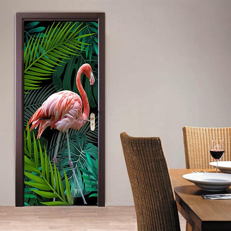 3D Photo Wallpaper Hand-painted Tropical Rainforest Flamingo Background Living Room Study Bedroom Door Sticker PVC Mural Fresco