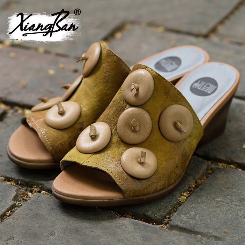 Femme 6 Confort Chaussures Green Pantoufles Talon Véritable Épais Sandales Toe Femmes Pantoufle Cuir Talons Élégantes Hauts À Peep Cm D'été yellow 4pTz4xwv