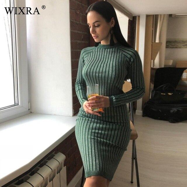 720141db6f5 Wixra Warm und Charme Frauen Pullover Kleid 2017 Herbst Winter Lange Sexy  Lurex Bodycon Kleider Elastische