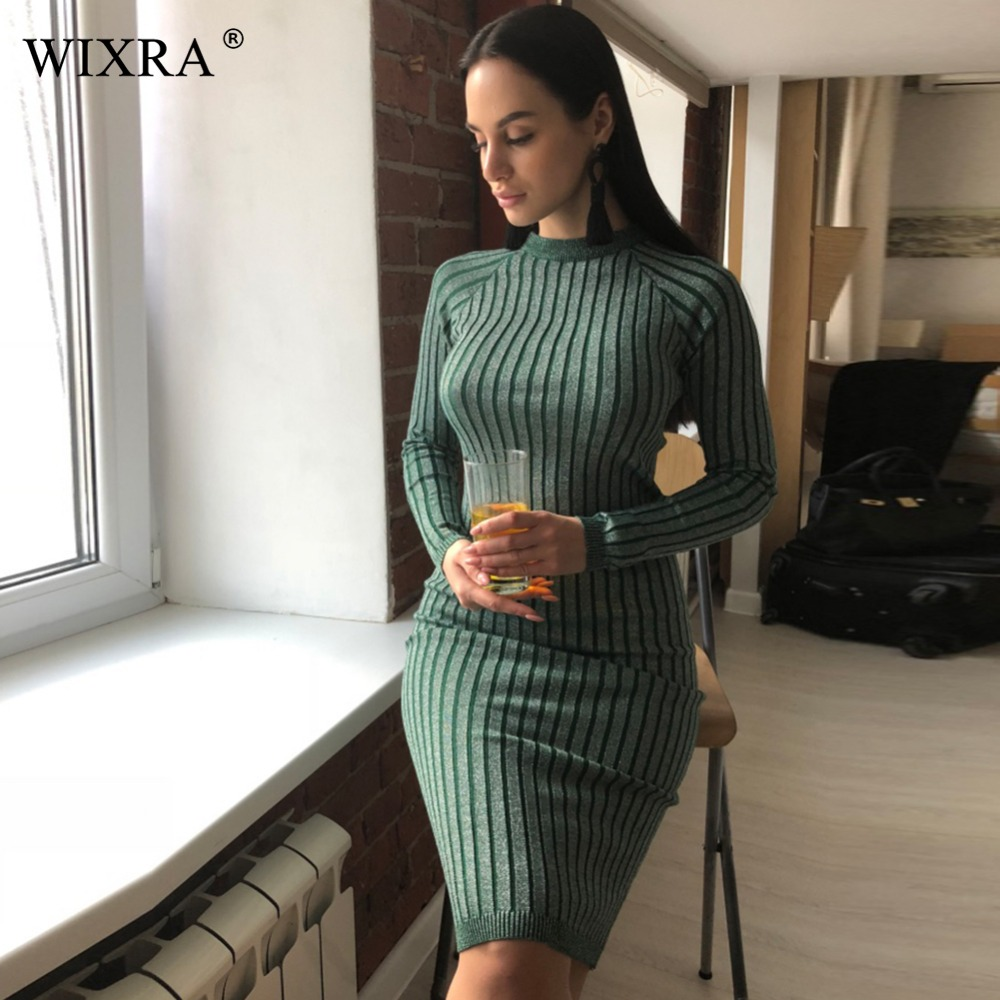 Wixra chaud et charme femmes pull robe 2017 automne hiver longue Sexy Lurex moulante robes élastique rayé Skinny tricoté robe